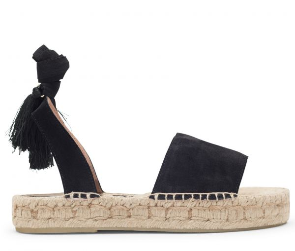 Hudson London Womens Andrea Suede Black Espadrille Side