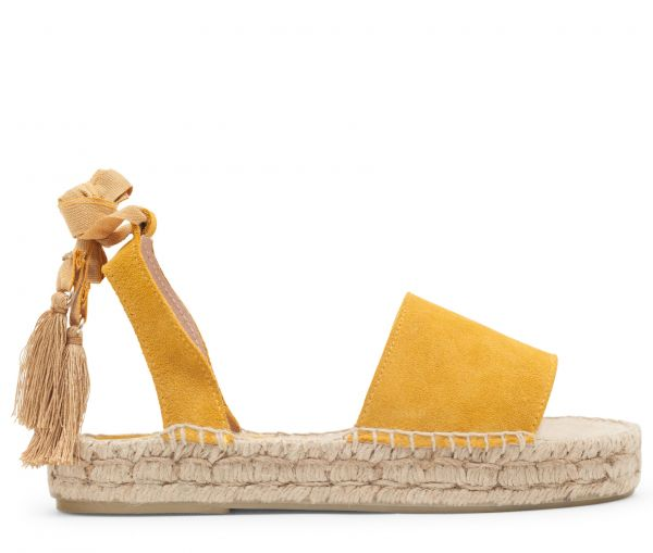 Hudson London Womens Andrea Suede Mustard Yellow Espadrille Sandal Side