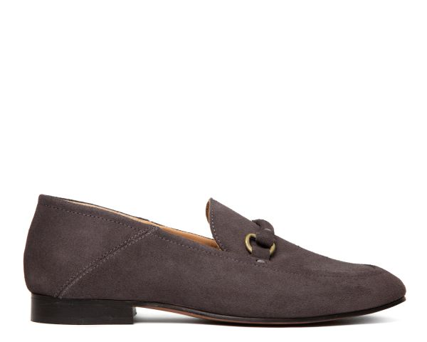 Hudson London Womens Arianna Suede Grey Loafer Side