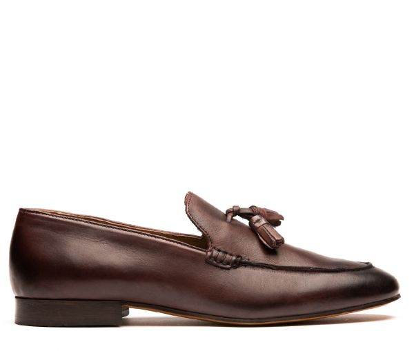 Mens Bolton Tassle Brown Loafer Side