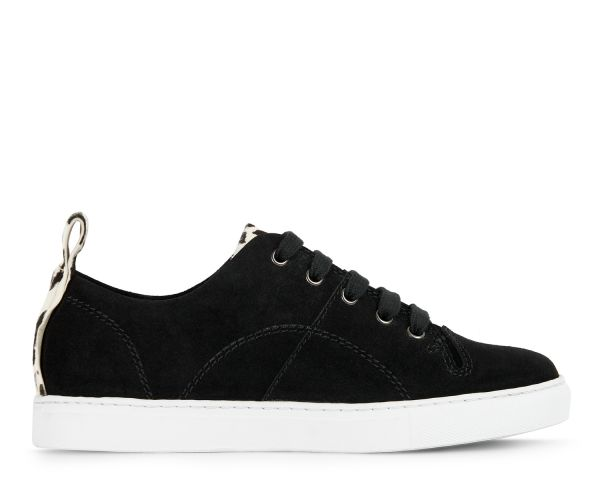 Hudson Womens Sierra Suede Black Sneaker Side