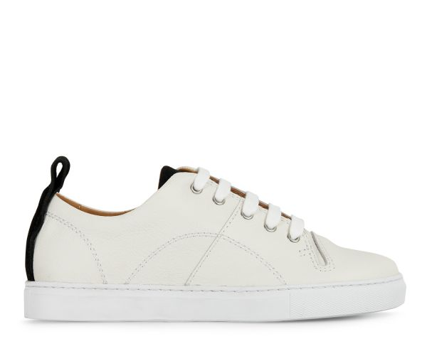 Hudson London Womens Sierra Leather White Sneaker Side
