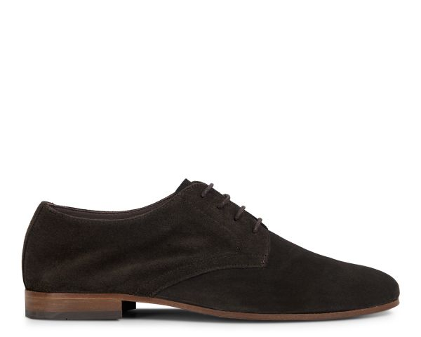 Hudson London Mens Attock Suede Coffee Derby Shoe Side
