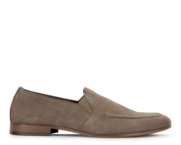 Hudson London Mens Milton Suede Taupe Loafer Side