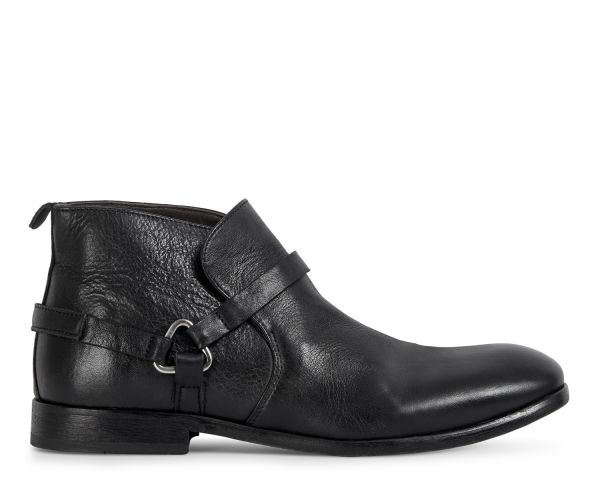 Hudson London Mens Hague Leather Black Boot Side