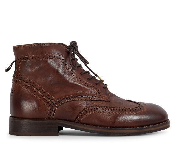 Hudson London Mens Anderson Drum Dye Brown Lace Up Boot Side