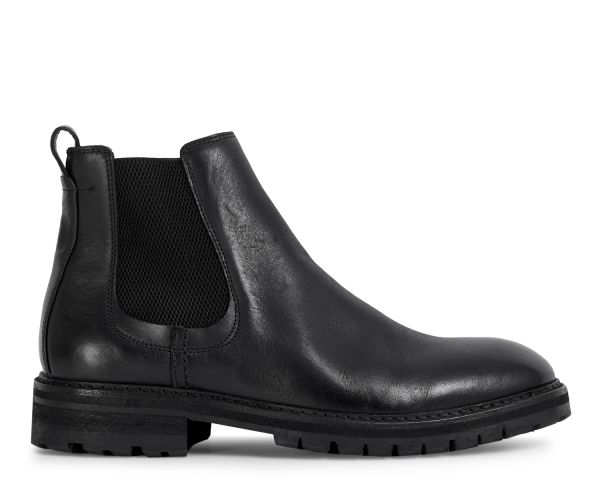 Hudson London Mens Canford Leather Black Chelsea Boot Side