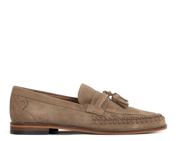 H by Hudson Mens Guilder Suede Taupe Loafer Side