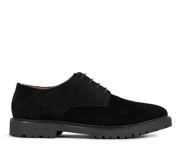 Mens Atol Suede Black Derby Shoe Side
