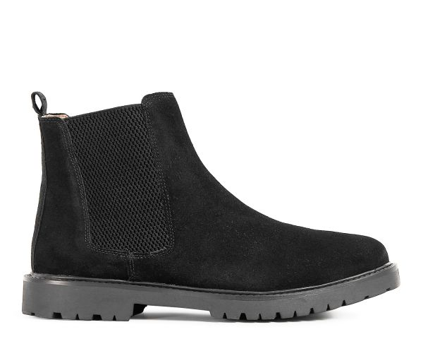 Mens Webber Suede Black Chelsea Boot Side