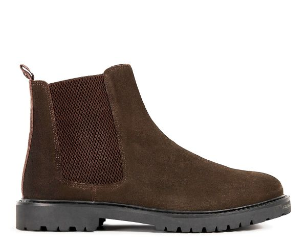 Mens Webber Suede Brown Chelsea Boot Side