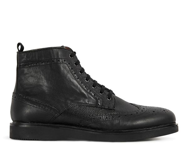 Mens Calverston Black Brogue Boot Side