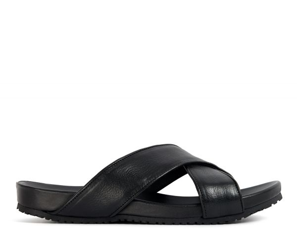 Hudson Mens Ayora Black Slip-on Sandal Side