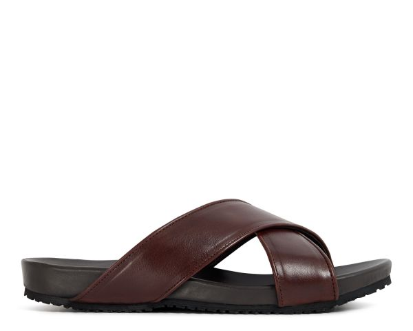 Hudson Mens Ayora Brown Slip-on Sandal Side