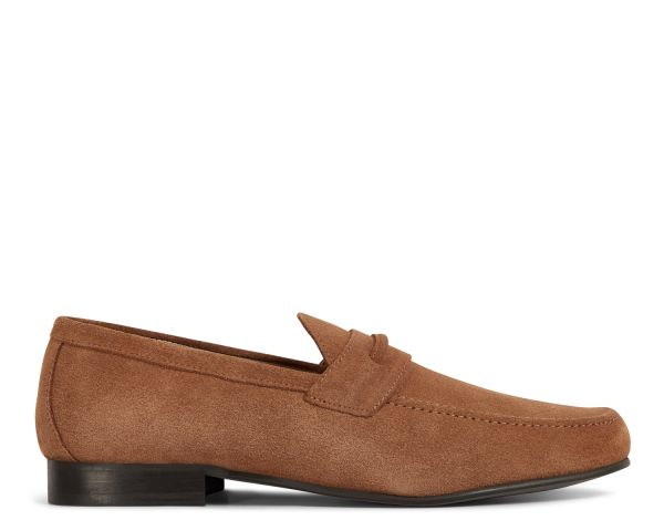 H by Hudson Mens Hecker Suede Tan Loafer Side
