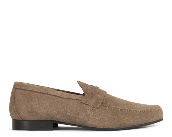 Hudson Mens Hecker Suede Taupe Loafer Side