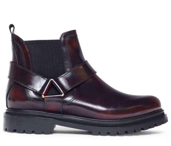 Moss Patent Bordeaux Chelsea Boot Side