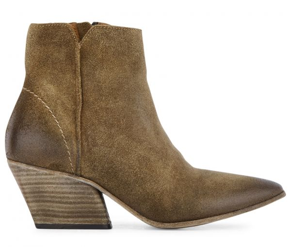Zip Heeled Boot Mystic Suede Tan Side View