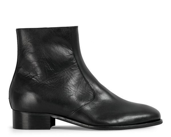 Hudson London Mens Lumin Black Zip Boot Side