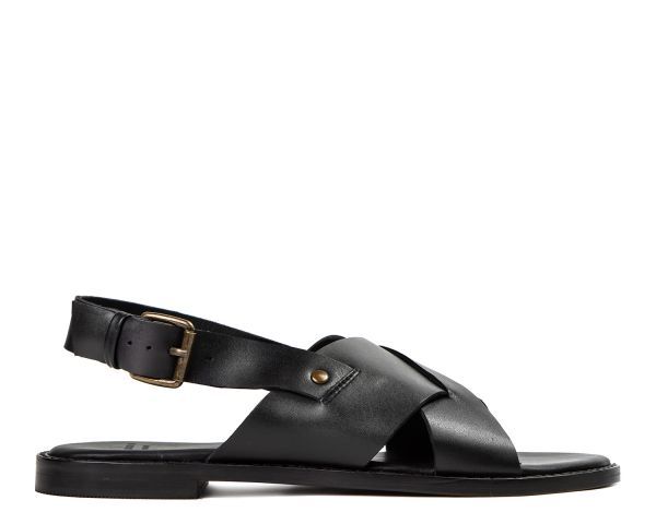 Hudson Womens Nickel Leather Black Criss Cross Strap Sandal Side