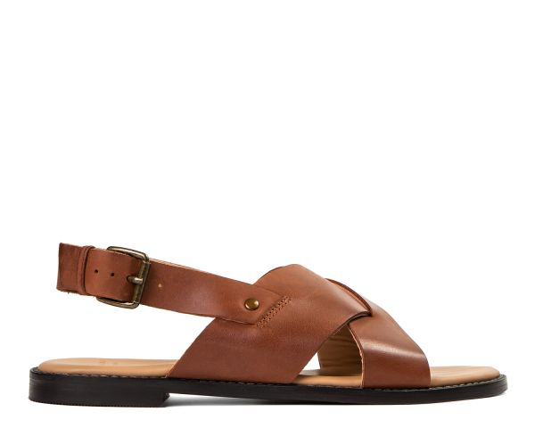 Hudson Womens Nickel Leather Tan Criss Cross Strap Sandal Side