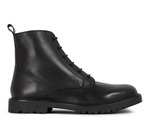H by Hudson Mens Perry Leather Black Boot Side