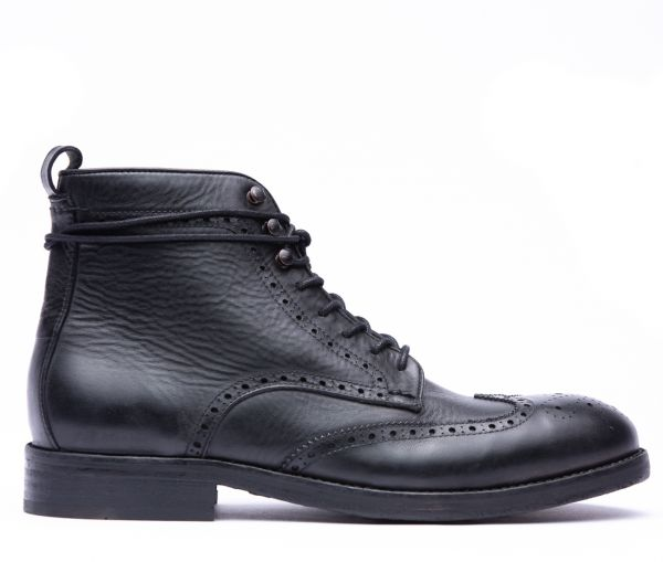 Sherwood Drum Dye Black Brogue Boot